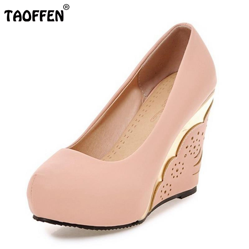 Ladies High Heels Shoes Women Round Toe Wedges Hallow Out High Heels Pumps Soft Office Lady Sexy Heeled Footwears Size 34-39 ladies real leather high heels pumps pointed toe sexy thin high heeled shoes women shine wedding party footwears size 34 39