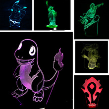 Hot Sale Cartoon 3D USB LED Lamp Pokemons Go Game Pikacu Donald Duck Spider Hero Basketball Chirstmas Night Light Gadget Props