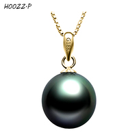 HOOZZ P Handpicked High Quality 18K Yellow Gold Tahitian Cultured Pearl Pendant In Angel Black Women