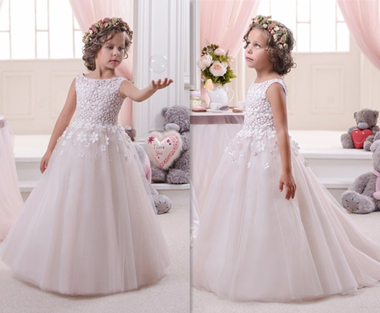Hot Tutu Vestido De Comunion 2017 New Pageant Dresses Flower Girl Dress White Formal Appliques O-Neck Regular Sleeveless hot flower girl dress white a line bow sash sleeveless solid o neck girls first communion dress hot sale vestido de comunion