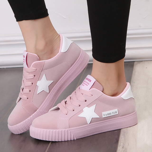 Fashion Women Casual Shoes Stars Patchwork Ladies Canvas Shoes Female Platform Trainers Basket Femme Chaussure