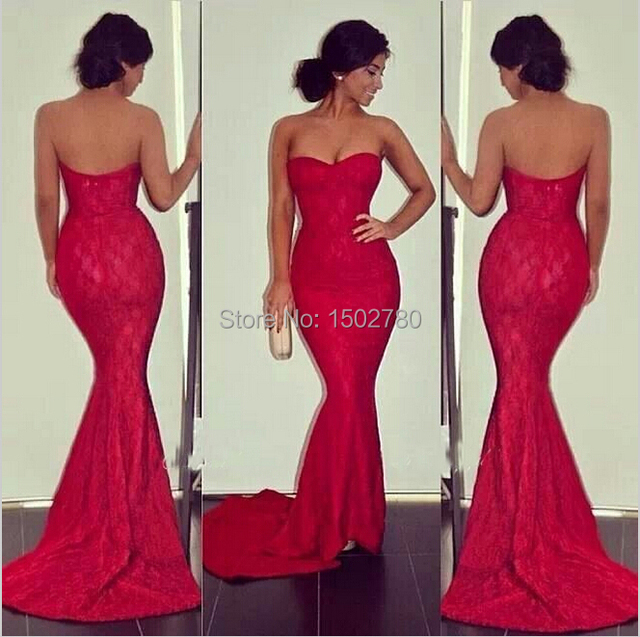 4a5b0322f75 Custom Made Cheap Red Mermaid Gown Evening Formal Lace Long Strapless  Fitted Sexy Prom Dresses 2015