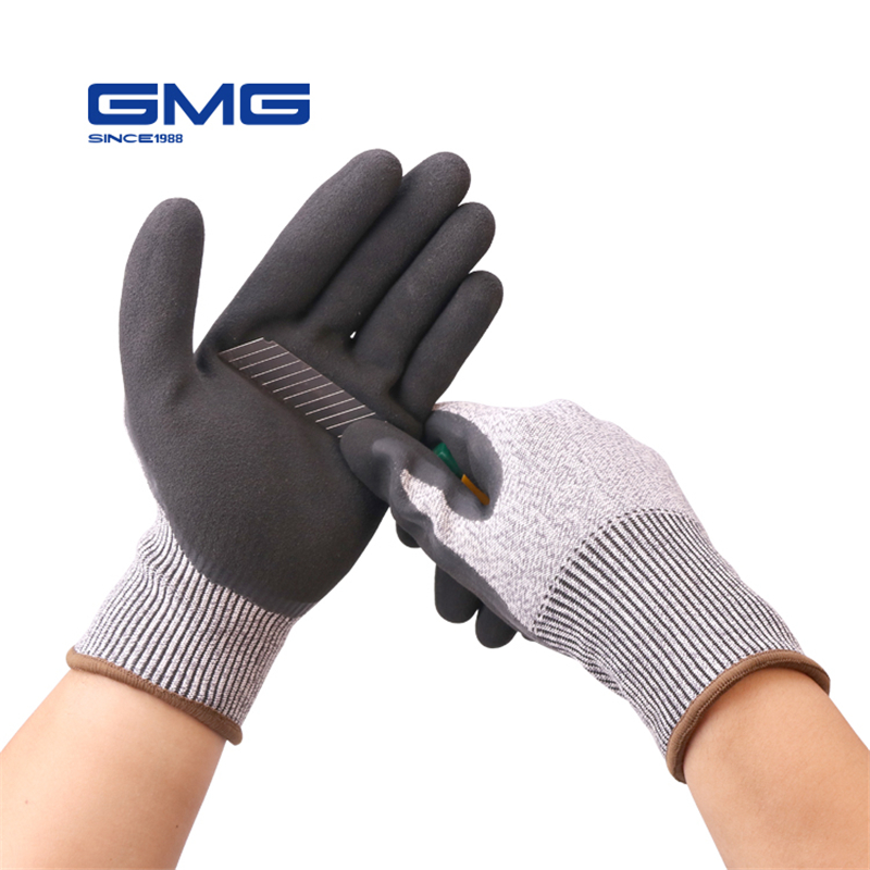 Construction Gloves GMG Grey Anti cut HPPE Shell Black Latex Sandy Coating Safety Work Gloves Cut Resistance Work Glove-in Safety Gloves from Security & Protection