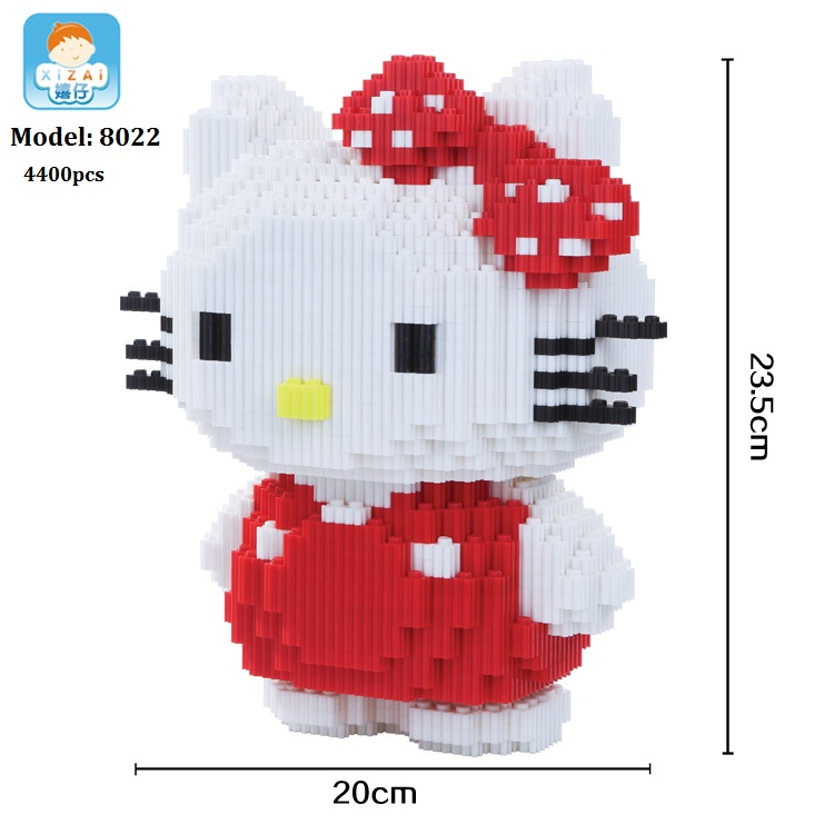 Xizai Connection Blocks Cartoon Building Toy Big size Kitty assembly Educational Intelligence Blocks Melody for Children Gift