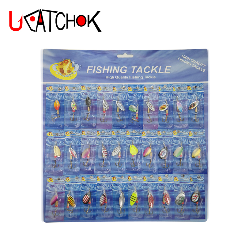 UCOK 30pcs/set cheap metal spoon spinner paper kit Combo hard rotative Sequin trout fishing lure bait fishing accessories tackle 10pcs box metal spoon fishing lures set in plastic fishing tackle box spinner bait spoon lure jig fishing accessories on sale