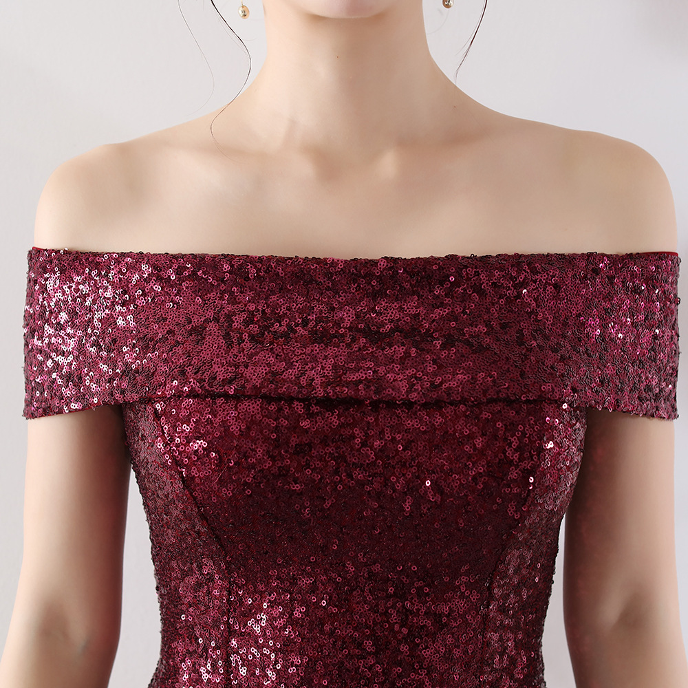 06df7e87f2 US $49.99 5% OFF|New Burgundy Sequin Cocktail Dress Nermaid Sexy Boat Neck  Off The Shoulder Women Short Prom Gown Navy Lady Wedding Party Dresses-in  ...