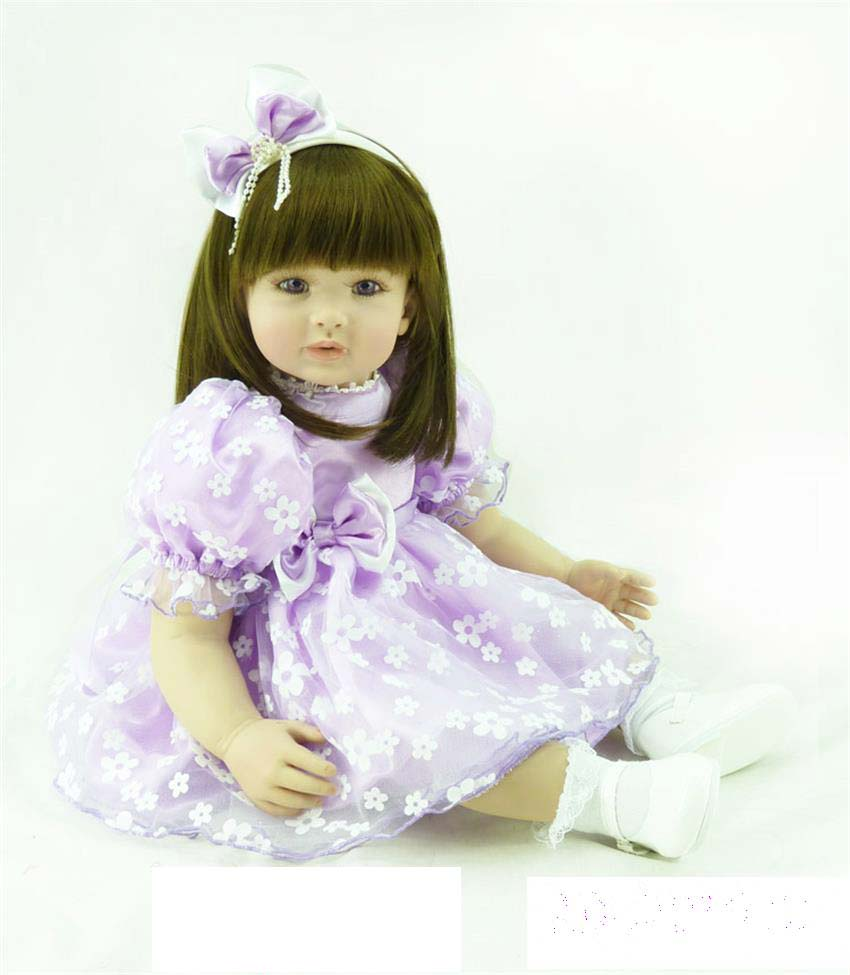 Pursue 24/60 cm Straight Hair Vinyl Silicone Reborn Toddler Girl Baby Doll Toys for Children Girls Princess Girl Doll Toys Gift lifelike american 18 inches girl doll prices toy for children vinyl princess doll toys girl newest design