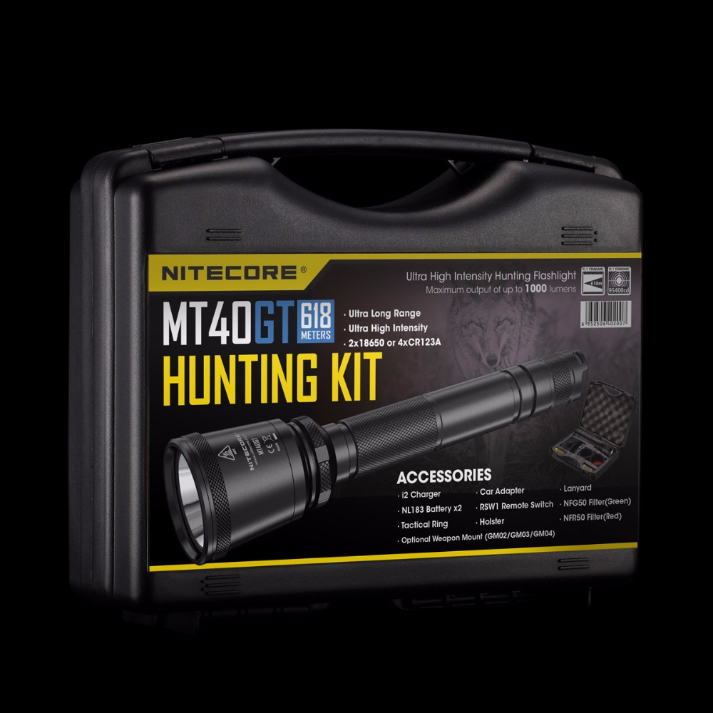 Topsale NITECORE MT40GT HUNTING KIT 1000LM CREE XP-L HI V3 LED Enforcement Military for Outdoor Camping Search Flashlight BOXSET 2017 nitecore five colours primary infrared light ci6 hunting kit gear hunting law enforcement militar flashlight lantern boxset