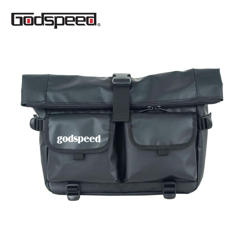 Godspeed waterproof travel messenger bag black top rolling tablet shoulder bag with back webbing to hang on the Bicyle Bag
