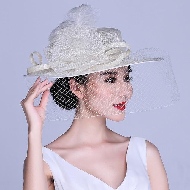 26a560e0e4b2f Novas Flores Retro Linho Gaze Pena Cerimônia Aristocrática Chapéu De Noiva  Cappelli Sombreros Chapeu Feminino Para