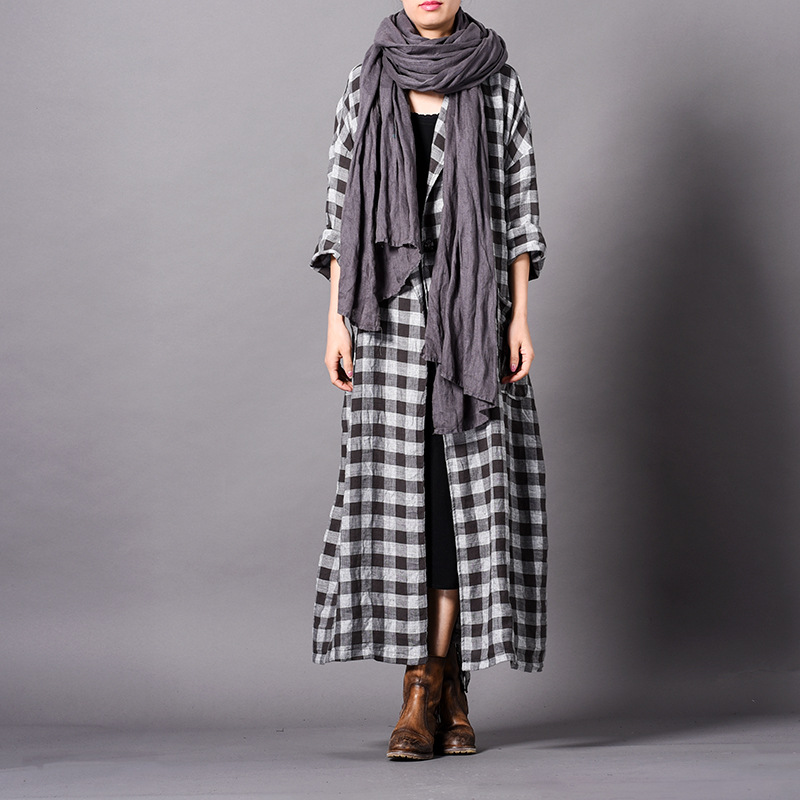 Johnature Vintage Plaid Long Plus Cotton Linen Trench 2019 New Spring Turn down Sashes Button 3 Colors Pockets Women Coats-in Trench from Women's Clothing    3