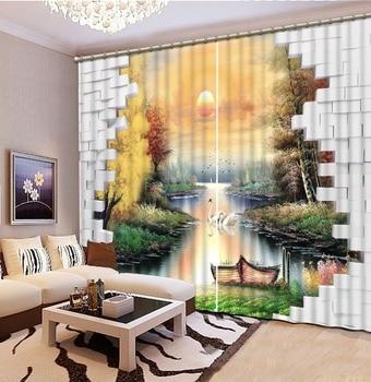 Cortina de alta calidad cortinas opacas foto fantasía paisaje cortinas de Sol para sala de estar estereoscópica cortina a prueba de sonido