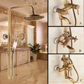 Free Shipping!Rainfall shower faucet set with slide bar tub faucet mixer+handle shower wall mount Antique bronze finish ST-9136