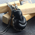 Baolong authentic 925 Sterling Silver Silver Natural Obsidian pendant Pendant New retro fashion exaggerated female fox