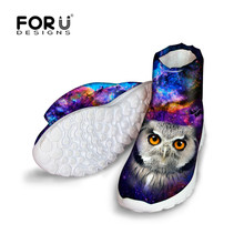 FORUDESIGNS Ladies Warm Boots Cool Animal Owl Galaxy Pattern Women's Winter Snow Boots Warm Fur Rain Boots Shoes for Teenagers