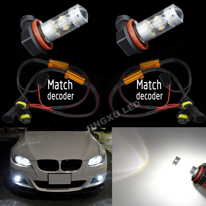 2 x White H8 H11 140W 1400LM LED Fog Light Driving Bulbs +Canbus Decoders Error Free For FORD MONDEO MK3 MK4
