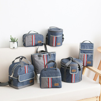 Denim Shoulder Ice Cooler Bags Leisure Women's Kid's Picnic Lunch Pouch Box Insulated Pack Drink Food Thermal Accessories Supply 2 layers family cooler bags thermal iced drink lunch box picnic food storage shoulder handbag pouch accessories supplies product