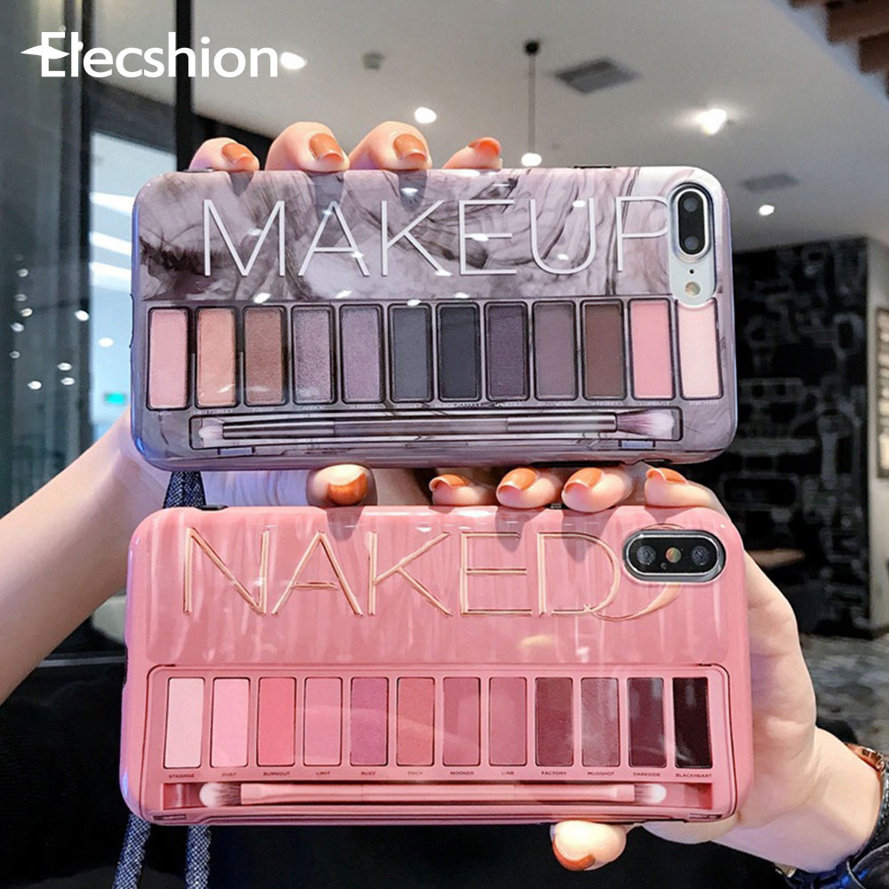 Luxury <font><b>Makeup</b></font> Eyeshadow Palette Phone <font><b>Case</b></font> For <font><b>iPhone</b></font> 7 Glossy Soft Silicone X XR XS Max For <font><b>iPhone</b></font> 8 plus 6 6s Fashion Cover image