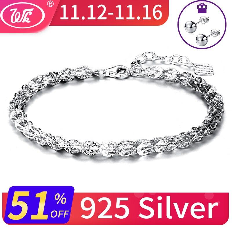 WK NEW Design 925 Sterling Silver Bracelet Women 4MM Hollow Phoenix Tail Shape Link Chain Bracelets Jewelry Pulseras SW BA023 цены
