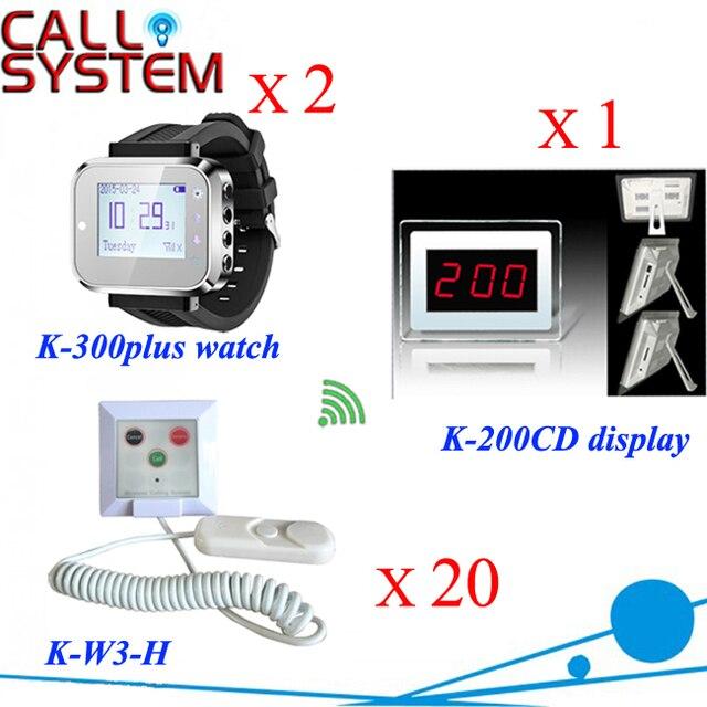 Больничных коек системы вызова 2 шт. медсестра запястье пейджер 1 дисплей приемника 20 тревожная кнопка для обслуживания