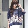 Mulheres Bohemian Impresso Batwing Blusa Manga Da Camisa Chiffon Top Blusas 20 Cores de Grandes Dimensões