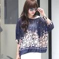 Women Bohemian Printed Batwing Sleeve Blouse Chiffon Shirt Top Oversized Blouses 20 Colors