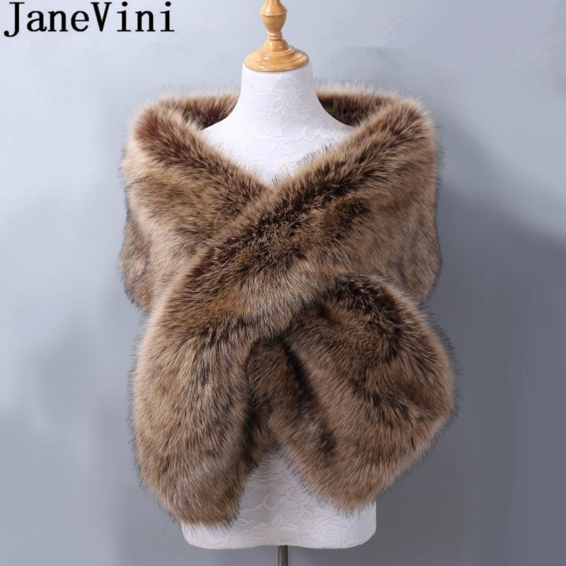 JaneVini Winter Warm Fur Black Bolero for Wedding Bride Wrap Cape Faux Fur Bridal Boleros Shawl Party Jackets Fourrure Mariage