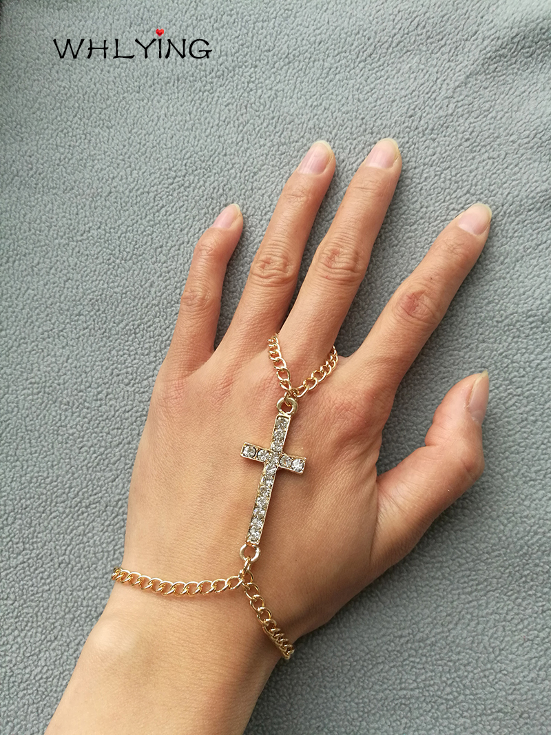 WHLYING 2018 Fashion Design Crystal Neo-Gothic Cross Hand Chain Gold Color Punk Harness Finger Bracelet Jewelry Craft for Women