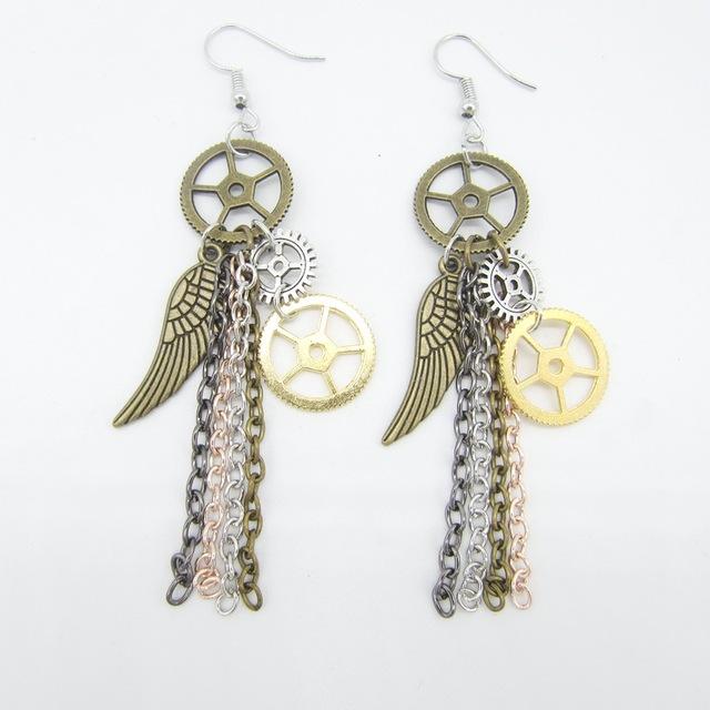 Vintage Wing and Gear Wheels Decorated Metal Steampunk Drop Earrings