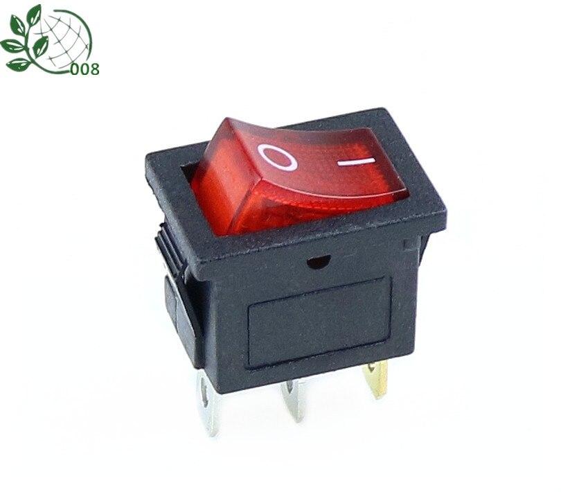 1Pcs Yellow 3PIN Illuminated LED Rectangle Rocker Switch Car