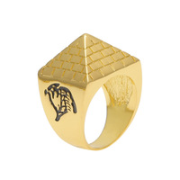 New Hip Hop Jewelry Ancient Egyptian Pyramids Ring Gold Filled Men Trendy Finger Ring Size 8-11