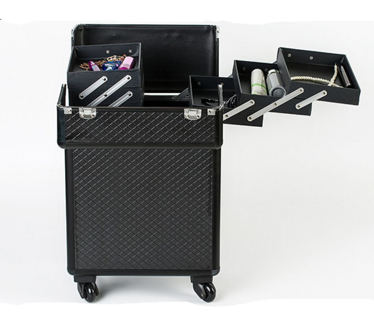 Portable Capacité Grande Black Boîte Spinner Maquillage Cas Aluminium Tige Voyage Cosmétiques Récit En Sac De axzBwqH