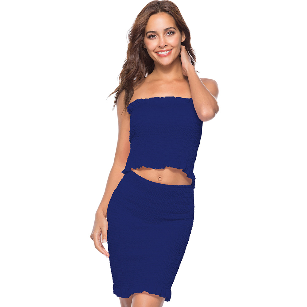 Women Solid Tube Top Skirt Set Slash Neck Strapless High Elastic Ruffles Sheath Cropped Mini Skirt Summer Two Pieces Vestidos