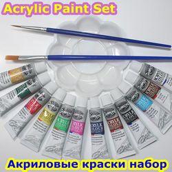 12 cores oferecem pincéis e paleta de pintura acrílicas pintura da arte do prego ferramenta de desenho para os artistas