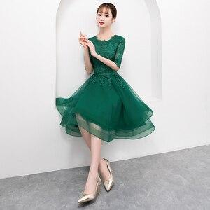 Image 4 - אלגנטי ירוק קצר טול שמלה לנשף עם חצי שרוול סקסי תחרה Applique באורך הברך פורמליות שמלת ערב המפלגה שמלה בתוספת גודל