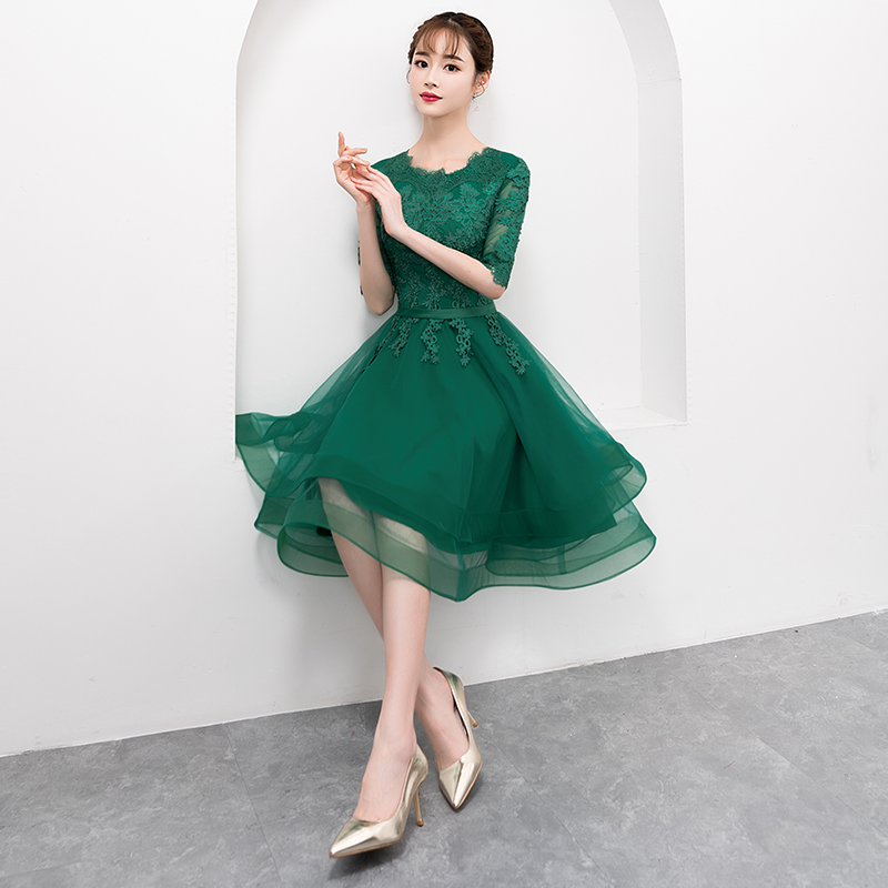 Elegant Green Short Tulle Prom Dress with Half-Sleeve Sexy Lace Applique Knee-Length Formal Gown Evening Party Dress Plus Size