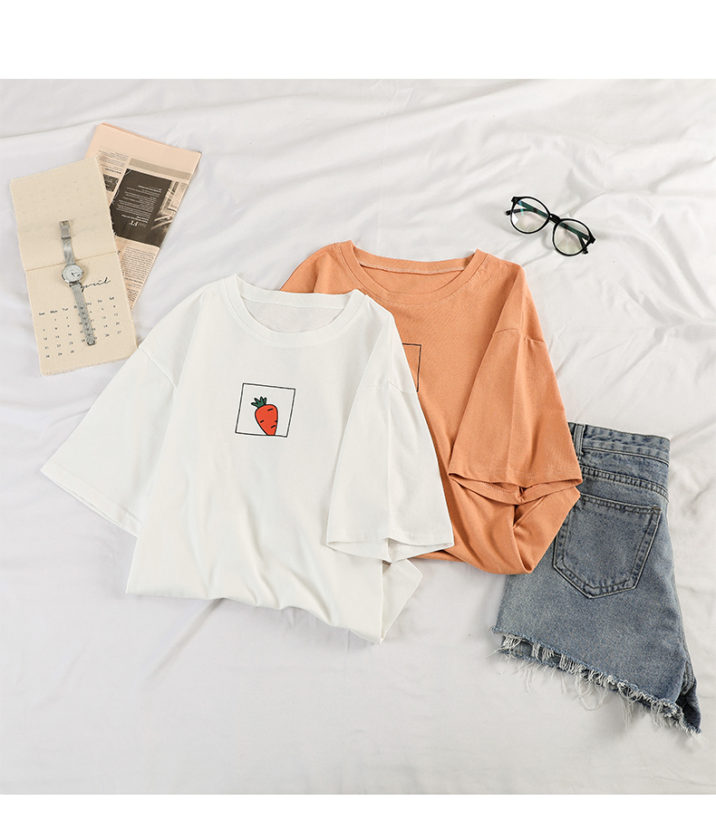 HTB15gpPeq5s3KVjSZFNq6AD3FXaE - 90s girl Fashion T Shirt Women Kawaii carrot Print Short Sleeved O-neck T-shirts Vintage Ullzang Tshirt Harajuku Top Tees Female