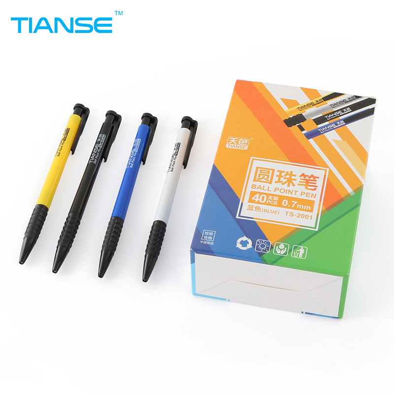 TIANSE 40pcs smooth blue ink Ballpoint Pen click and go marker writing signing 0.5mm ball point pen high quality office suppiles