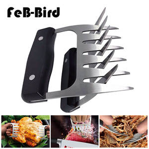 Pair of 2 Stainless Steel Claws Barbecue Fork Tongs Pull Meat Shred Pork Clamp Roasting Fork Black BBQ Set Barbecue Tool