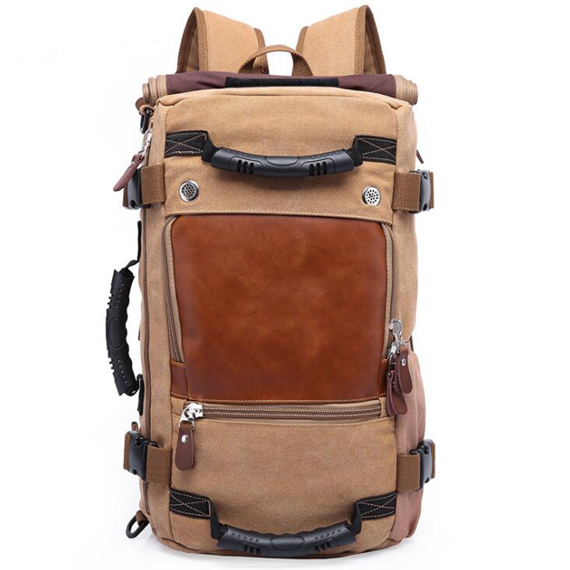 Wobag Men Functional Convas Bags Brand Stylish Travel Large Capacity Backpack Male Luggage Shoulder Bag Computer Backpacking mco men s vintage canvas backpack school luggage shoulder bag computer functional hand bag large capacity travel laptop backpack