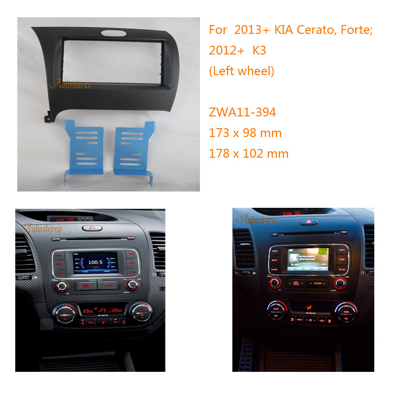 2din Car Radio Fascia Panel Kit For Kia Cerato  Forte 2013   K3 2012   Left Wheel  Facia Frame