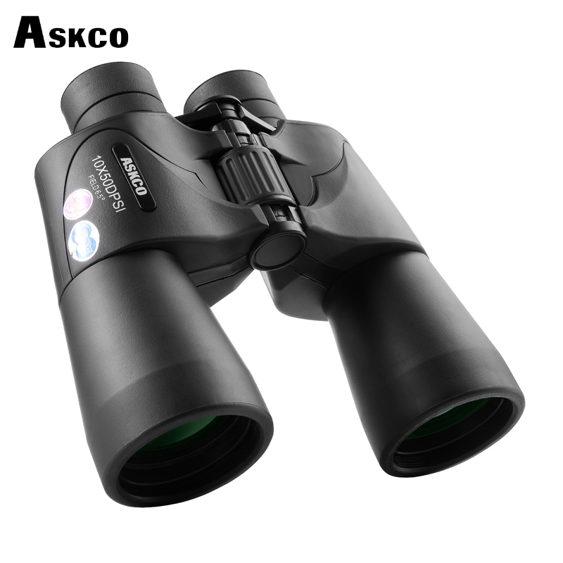 Askco HD Military Binoculars 10X50 Nitrogen Waterproof Bak4 Prism Telescope Portable Long Range Top binoculars for Hunt Tourism bijia 20x nitrogen waterproof binoculars 20x50 portable alloy body telescope with top prism for traveling hunting camping
