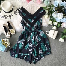 Boho Lace Short Women Jumpsuit V Neck Tunic Floral Sexy Korean Backless Summer Beach Sleeveless Plus Size Rompers
