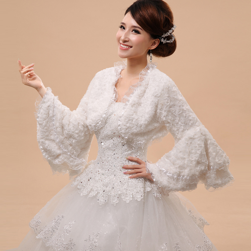 In Stock Lace Edge Bridal Boleros Thick Long Sleeves Women Ladies Wedding Jackets Plus Size Wraps For Wedding Accessories