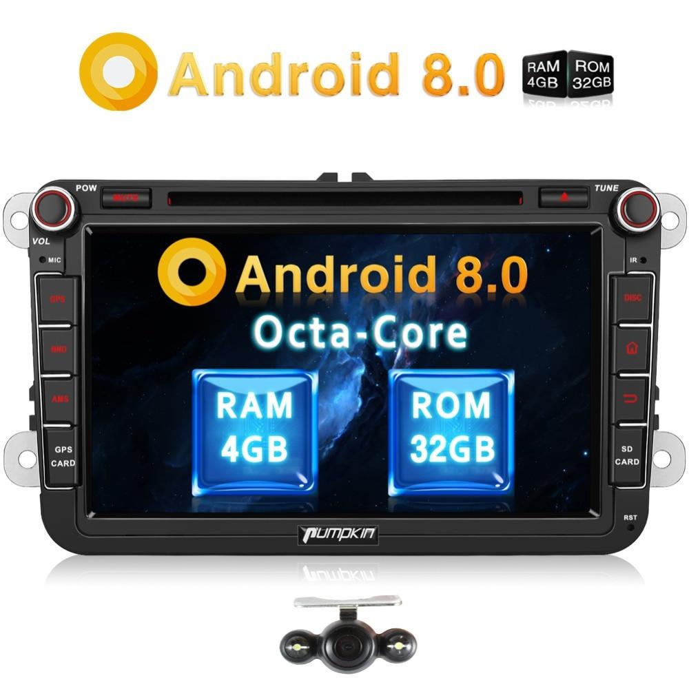 Pumpkin 2 Din 8''Android 8.0 Car DVD Player GPS Navigation Car Stereo For VW/Skoda/Golf/Volkswagen FM Rds Radio 4G OBD2 Headunit цены онлайн