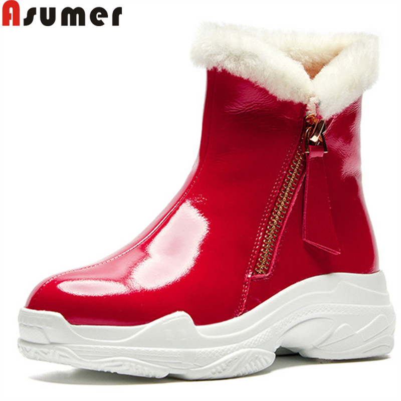 ASUMER big size 34-41 fashion ankle boots for women round toe zip cow patent leather boots winter keep warm snow boots 2019 new morazora plus size 34 43 new keep warm ankle snow boots round toe pu soft leather platform shoes woman sweet women winter boots