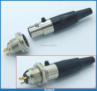 10sets Connector Mini XLR 3 Pin Male Cable Inline Plug Small 3 Pin TA3F Female