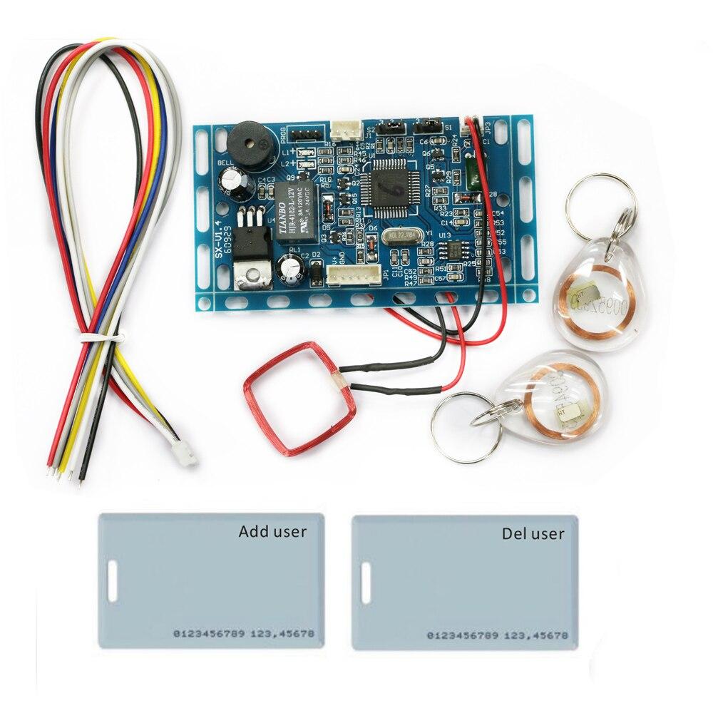 bilder für Freies verschiffen 125 KHZ Embedded RFID bord Nähe Tür Access Control System intercom-modul + 10 kristall keyfobs und 2 karten