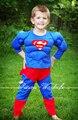 Рождество рождественский подарок мышцы супермен экипировка мальчик малыш ну вечеринку костюм присутствует 2-7Y