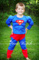 XMAS Christmas Gift Muscle superman Outfit Boy Kid Party Costume Present 2-7Y